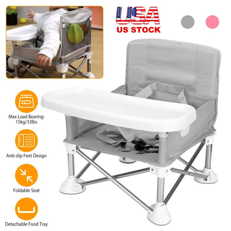 Travel Booster Seat w/ Tray for Baby High Chair for Camping/Beach/Lawn Portable