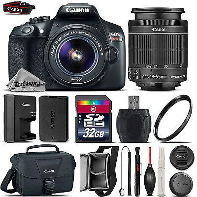 Canon EOS Rebel T6 1300D Camera + 18-55mm IS Lens + Canon Case + UV - 32GB Kit