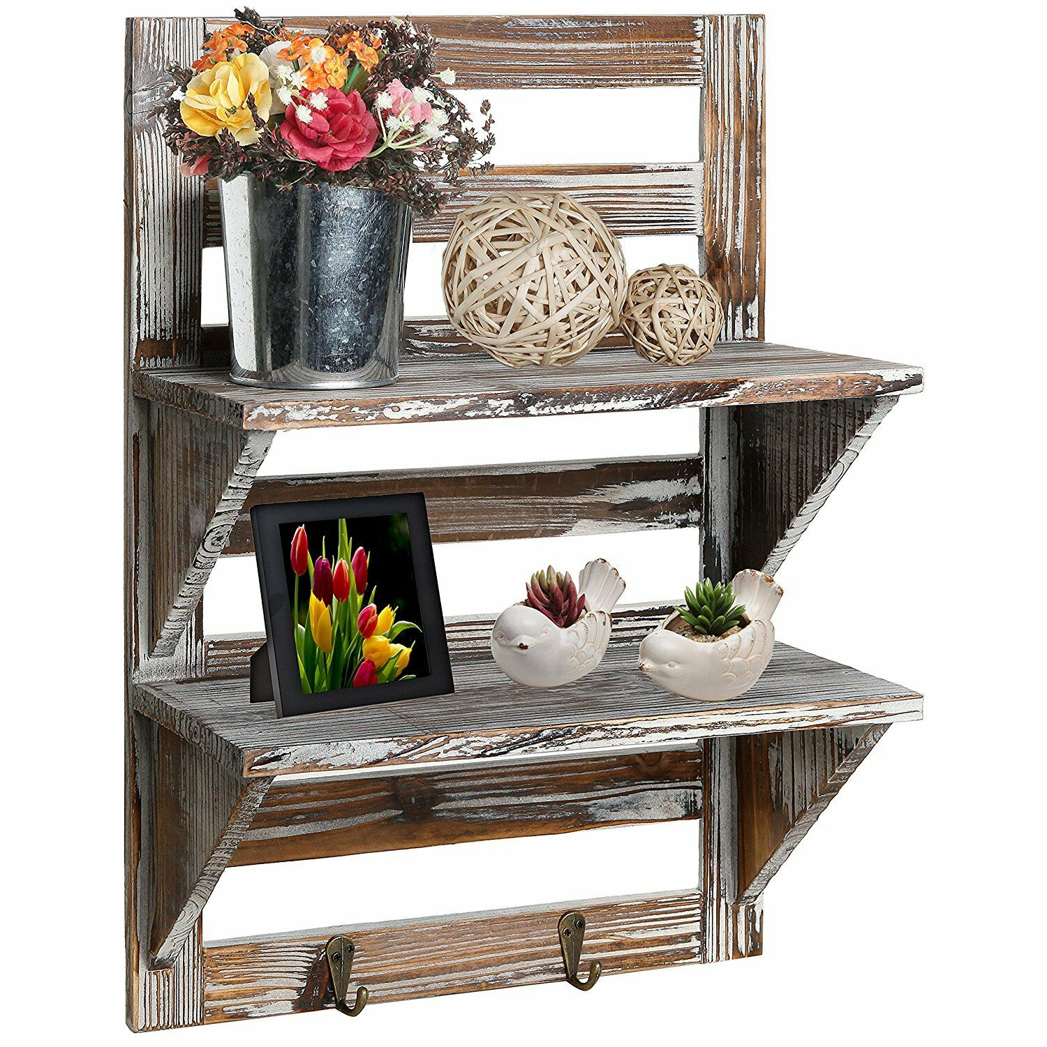 Small Wall Shelf Key Rack House Entryway Rustic Country Wood