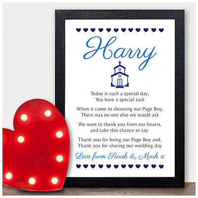 Personalised Page Boy Thank you Poem - Gifts for Page Boy Usher Best Man
