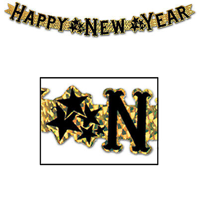 Gold Streamer (Happy New Year Gold Prismatic Streamer Hanging Decoration Eve Party)