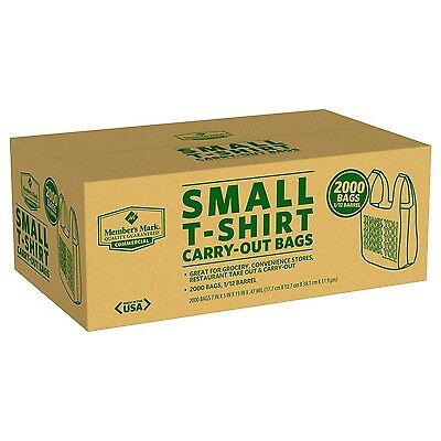 Small T-Shirt Carry Out Retail Plastic Bags Recyclable Grocery Shopping 2000ct.