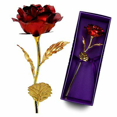 Gold Plated Rose Flower 24K Dipped Decor Mothers Day Anniversary Love Gift Red
