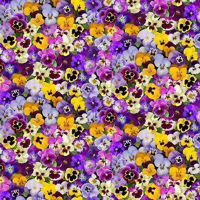 "Fabric Flowers Pansies Spring Beauty on Cotton by ""Timeless"