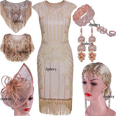 Rose Gold 1920s Flapper Dress Gatsby Fringe Evening Gowns Prom Formal Dresses