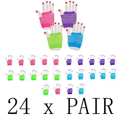 24 Pair 80s Themed Fishnet Fingerless Diva Wrist Gloves Neon Gloves Party Favors (80s Party Themes)