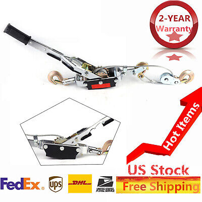 5 Ton Hand Puller Heavy Duty Winch Pull Hoist Come Along Cable Lever 3 Hooks Usa