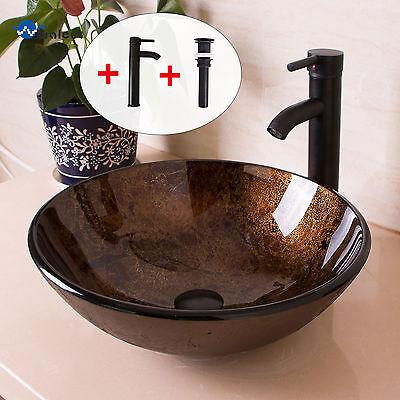 Bathroom Round Glass Vessel Sink W/Oil Rubbed Bronze Faucet & Pop-up Drain (Bronze Vessel Sink Faucet)