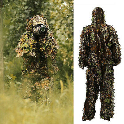 3D Ghillie Suit Set Sniper Train Leaf Jungle Forest Wood Hunting Camouflage](Jungle Leaf)