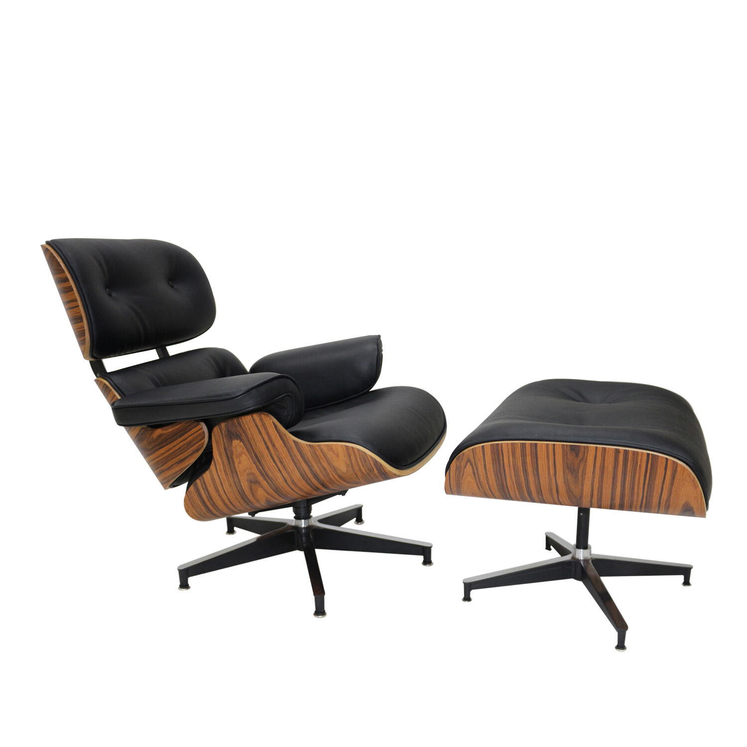 Charles Eames Rosewood Lounge Chair And Ottoman In Black Genuine Leather Replica