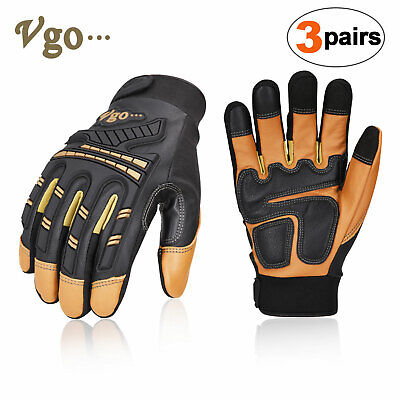 Vgo 3pairs Goatskin Heavy Duty Mechanic Glovework Gloveanti-vibrationga8954