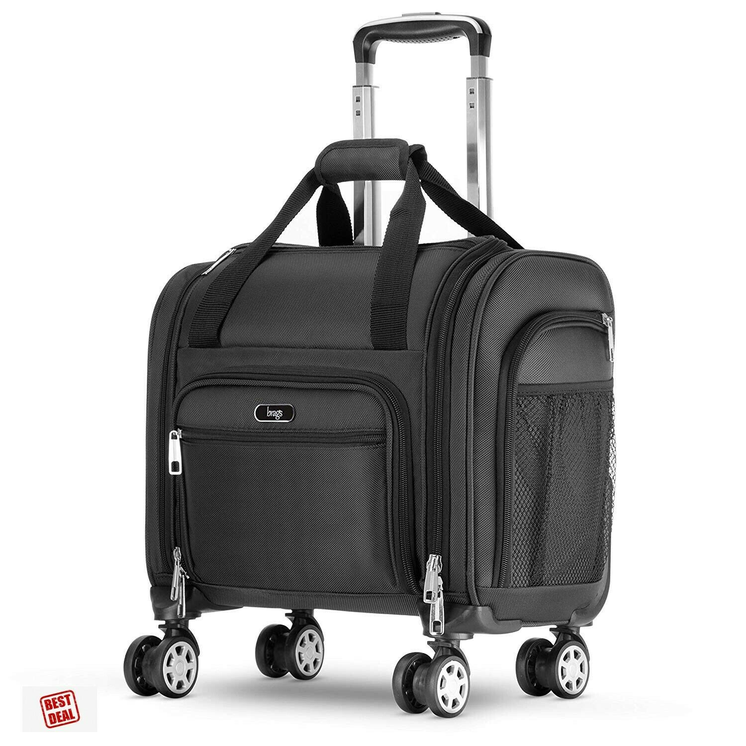 Under Seat Wheeled Luggage Rolling Carry On Bag 4 Spinner Wh