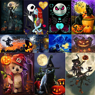 5D DIY Full Drill Diamond Painting Halloween Cat Witch Embroidery Cross Stitch - Halloween 3 Drill