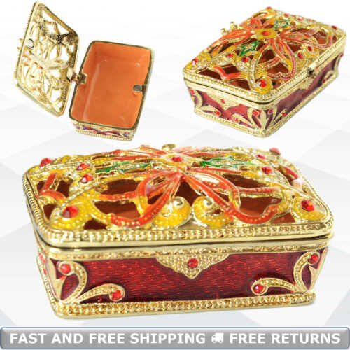 Gold Filigree Decor Jewelry Trinket Box With Hinged Lid Enamel Bejeweled Crystal