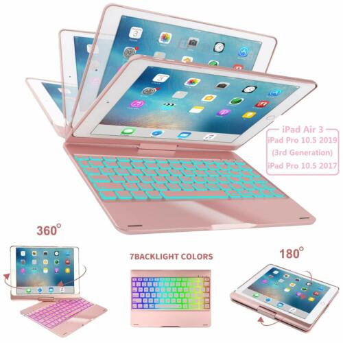 """For iPad Pro 10.5""""/Air 3rd Case 360 Swivel Backlit Bluetooth"""