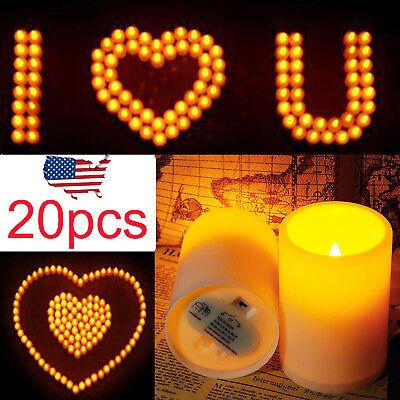 20Pcs US Pillar Candle Flameless LED Candle Light Lamp For Wedding Christmas USA - Flameless Lamps