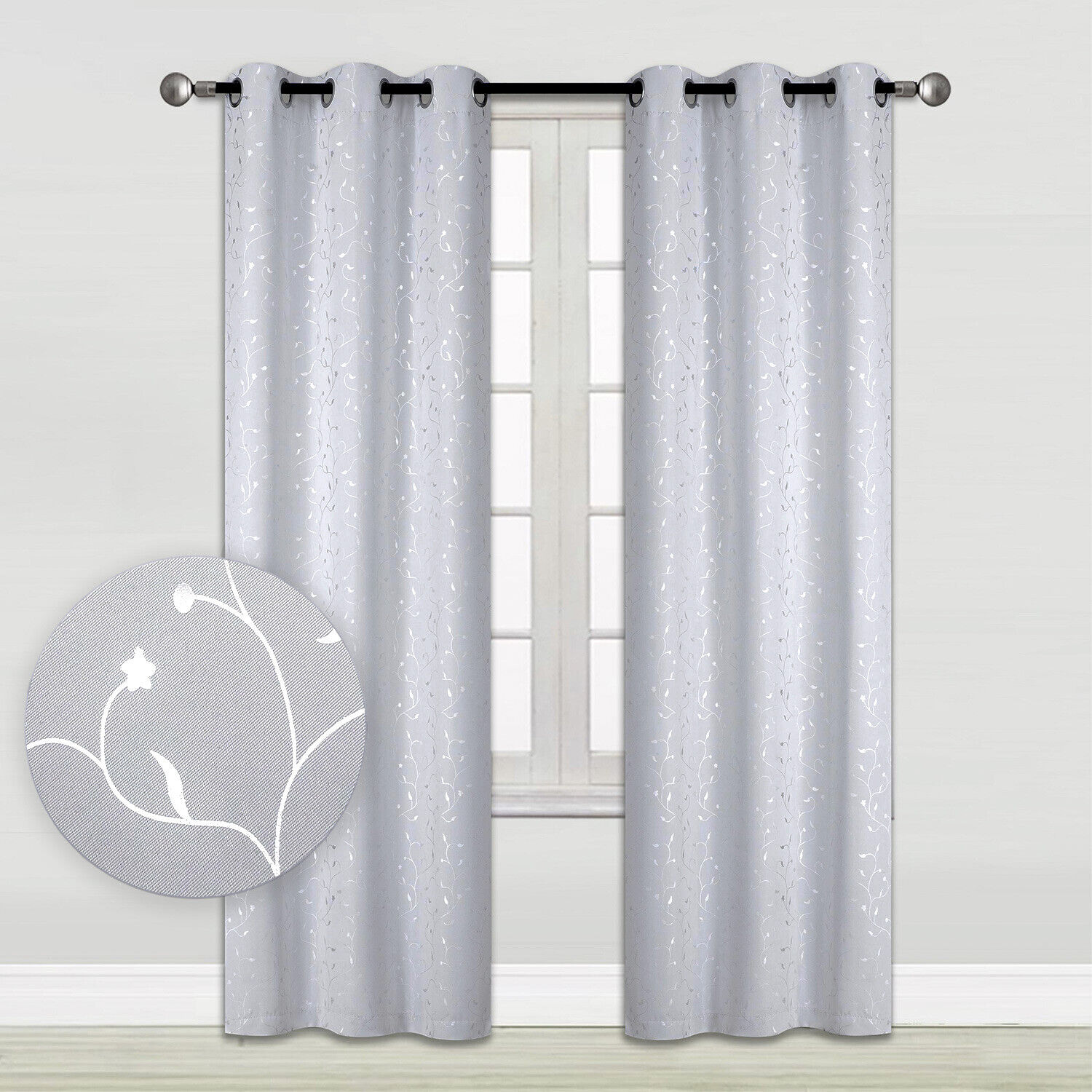 Silver Vine Embossed Blackout Window Curtains 2-Panel Pair 35″x84″ or 52″x84″ Curtains & Drapes