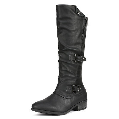 DREAM PAIRS Women PARKAR New PU Leather Winter Low Heel Knee