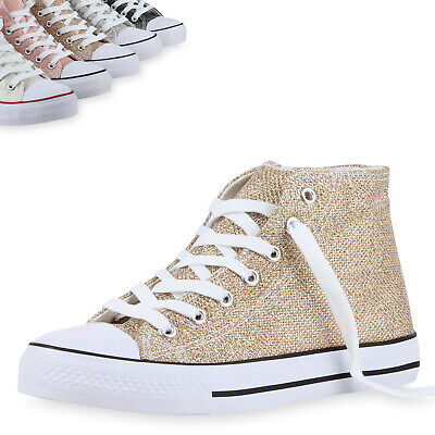 Damen Sneakers High Top Glitzer Turnschuhe Freizeit Flats 811079 Top (High-top Glitzer Sneaker)