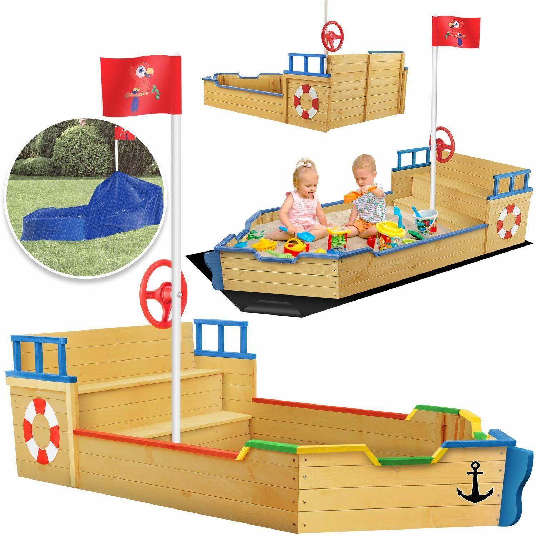 KIDIZ® Sandkasten Ahoi Piratenschiff Boot Schiff aus Holz groß Sandbox Sandkiste