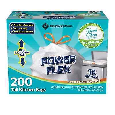 Member's Mark Power Flex Tall Kitchen Drawstring Trash Bags (13 Gallon, 2 Rolls
