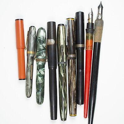 Lot of 7 Vintage Fountain Pens for Restoration Repair Parts + 2 Dip Pens