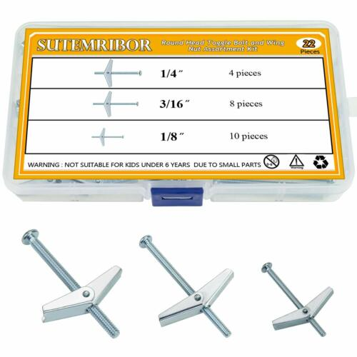 Sutemribor 1/8 Inch, 3/16 Inch, 1/4 Inch Toggle Bolt and Wing Nut for Hanging He