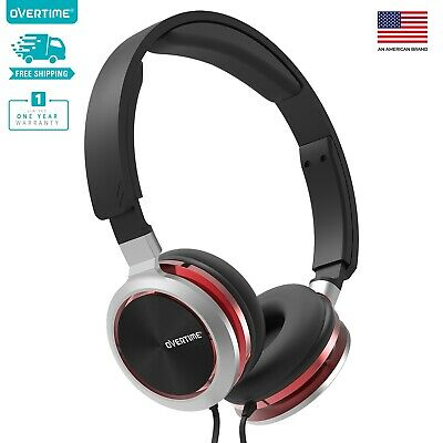Overtime Wired Stereo Headphones Over-Ear Headphones Adjustable Headband