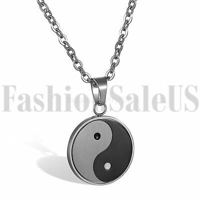 Stainless Steel Mens Women Tai Chi Yin Yang Bagua Lucky Pendant Necklaces Gift