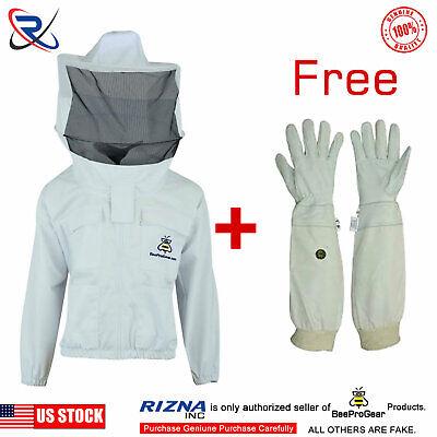 Bee Clothing Beekeeper Beekeeping Jacket Protective Round Veil Hood -large
