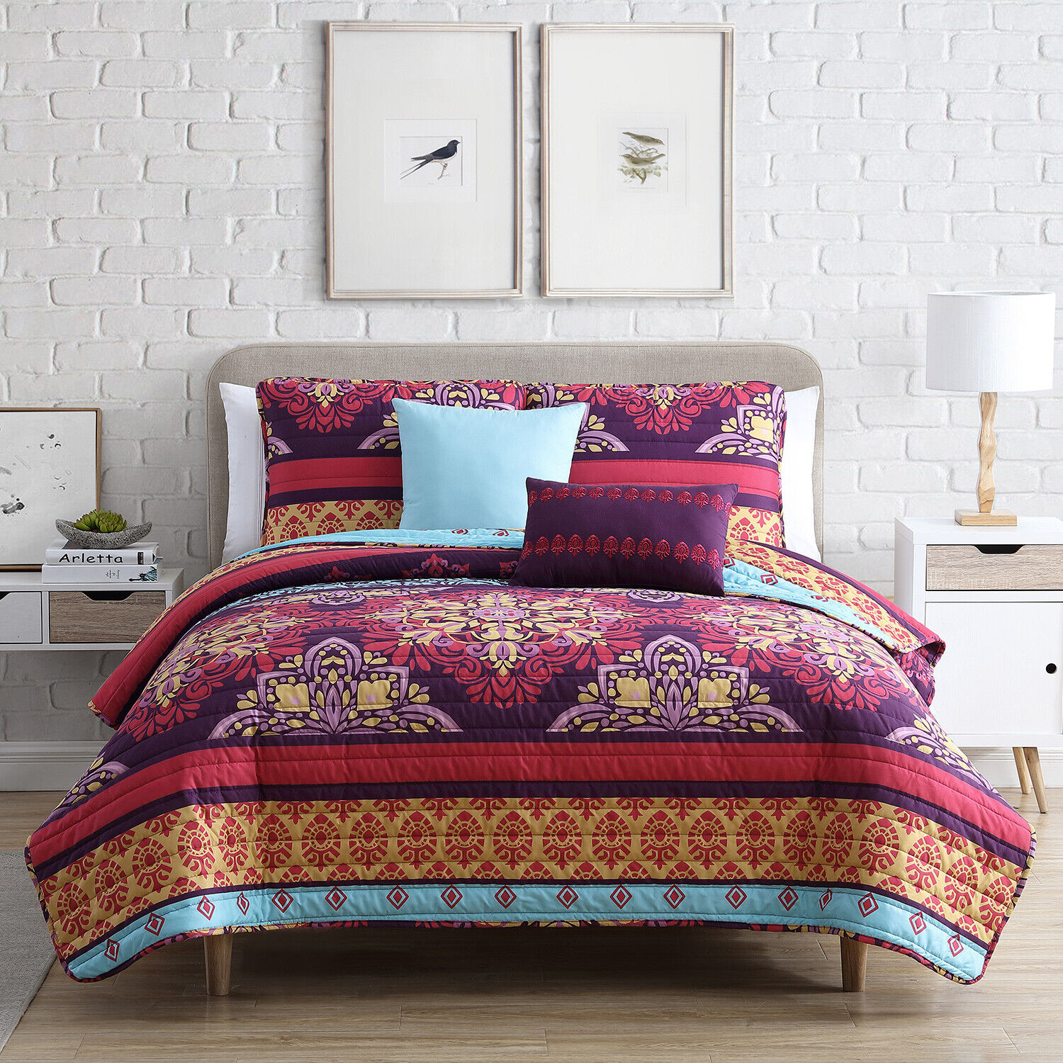 Twin XL or Full XL Medallion Quilt Bedding Set with Sham and Pillows, Red Purple Bedding