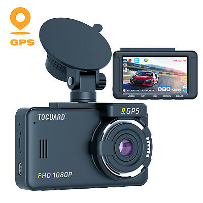 "TOGUARD Dash Cam GPS 1080P FHD Dash Camera Car Recorder 3"" LCD Parking Monitor"