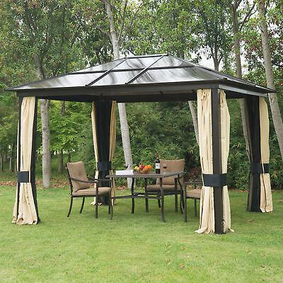 Luxus Alu Pavillon Partyzelt Gartenzelt mit lichtdurchlässig Dach 3x3,6m Schwarz 3 X Licht