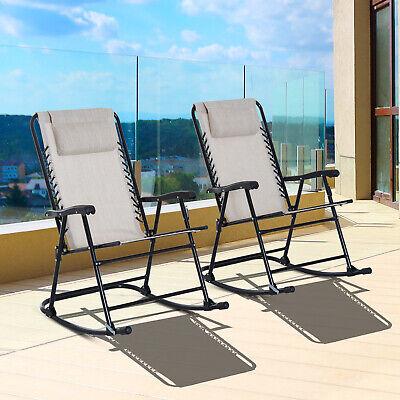 3pc Outdoor Patio Folding Rocking Chair Set Garden Furniture Garden Rocker