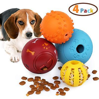 4X Dog Treat Ball Interactive Food Dispensing IQ Treat Toys Chew Tooth Cleaning