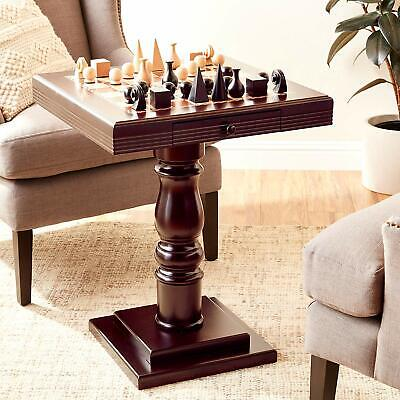 Wooden Chess Pedestal Table Board with Drawer Checker Top Player Room Furniture