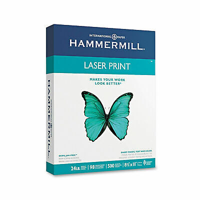 Hammermill Laser Print Paper Letter White 24lb 98-bright Ream Of 500 Sheets New