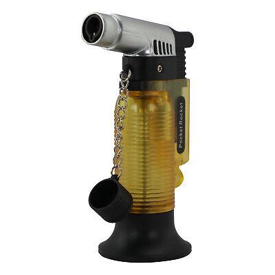 Pocket Rocket Single Jet Flame Butane Cigar Cigarette Torch Lighter - Yellow