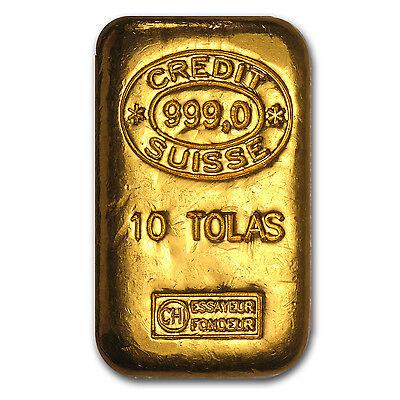 10 Tolas Gold Bar   Credit Suisse  3 75 Oz    Sku  57001