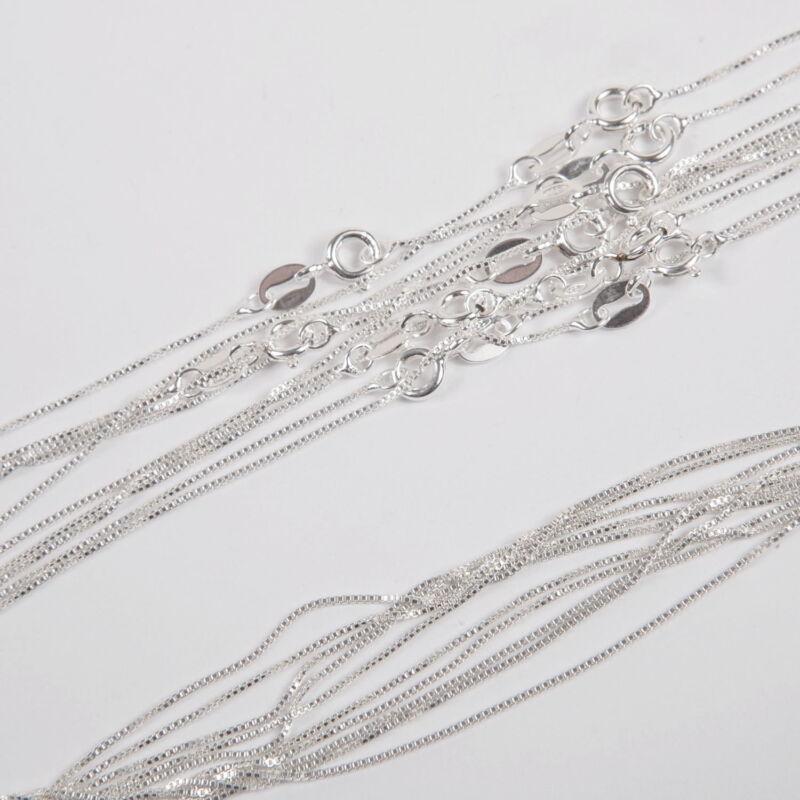 "10 pieces 20"" 50cm Sterling Silver 925 0.8mm Fine BOX 012 Chain Necklaces Lot"