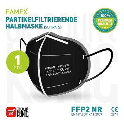 20 x FAMEX Mundschutz Atemschutzmaske Schwarz FFP2 Partikelfiltrierend CE 2163