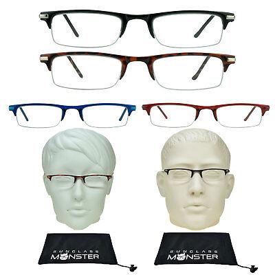 THIN Pocket Reading Glasses FULL Lens Readers Light Weight Half Rim Red Blue