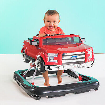 Red Ford F150 Pickup Truck Baby Walker, Sounds Lights Adjustable Height Folding
