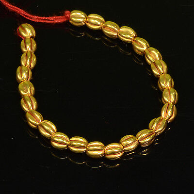 18k Solid Yellow Gold 3MM Pumpkin Spacer Findings Beads 3 INCH Strand (25)