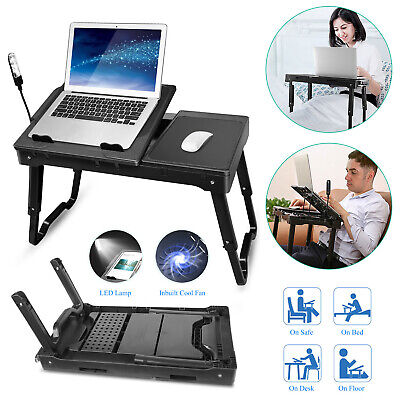 Foldable Laptop Table Tray Desk W/Cooling Fan Tablet Desk Stand Bed Sofa...