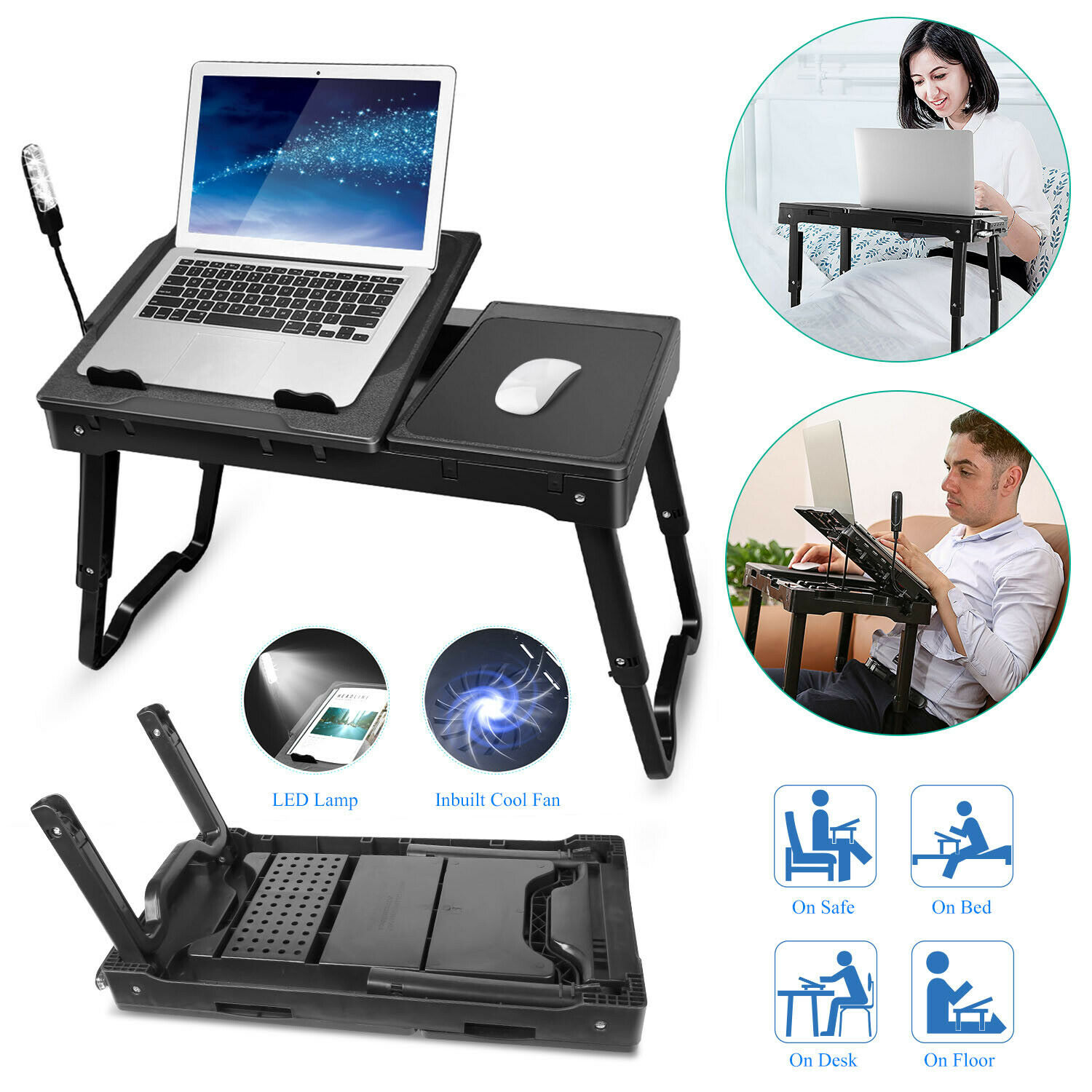 Laptop Table Tray Desk W//Cooling Fan Tablet Pad Stand Bed Sofa Couch Stand Lap