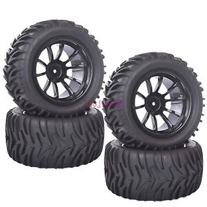4PCS RC 1/10 Off-Road Bigfoot Monster Truck Tyre Tires Wheel Rim black 8805