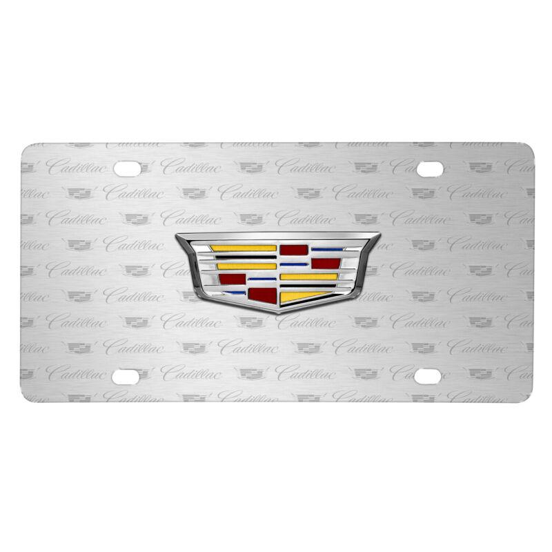 Cadillac Crest 3D Logo on Logo Pattern Brushed Aluminum License Plate