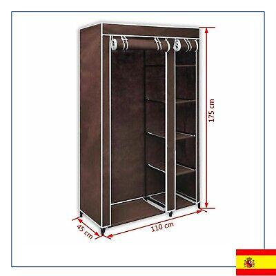 Armario Plegable Portátil de Tela Marrón Ropero Mueble Ropa Temporal Habitación