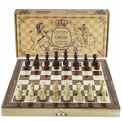 Magnetic Chess Hand Crafted Travel Set With Wooden Board Folding Chessboard Game
